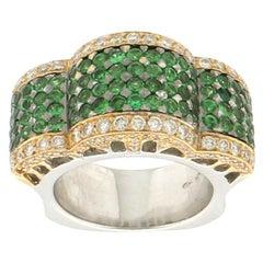 Handcraft Tsavorite 18 Karat Yellow and White Gold Diamonds Cocktail Ring