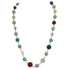 Handcraft Turquoise 14 Karat Yellow Gold Amethyst Agate Citrine Beaded Necklace