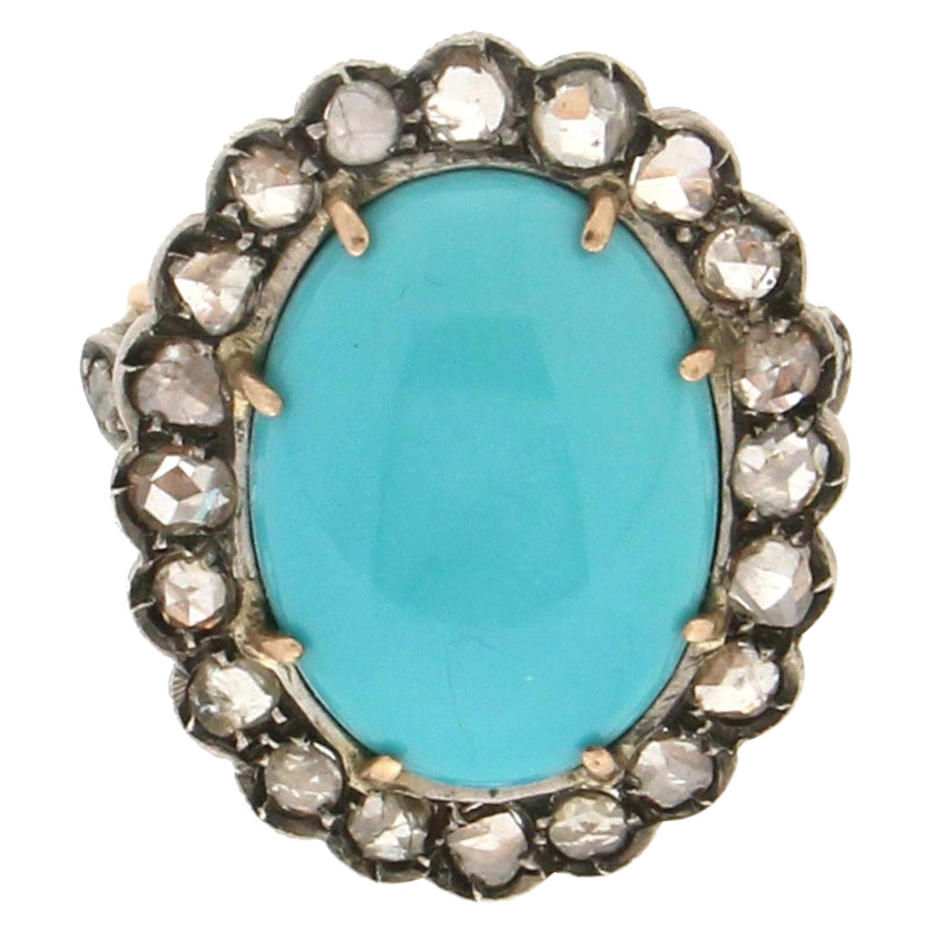 Handcraft Turquoise 14 Karat Yellow Gold Diamonds Cocktail Ring