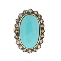 Handcraft Turquoise 14 Karat Yellow Gold Diamonds Cocktail Ring