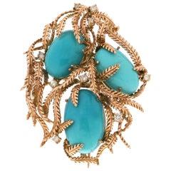 Handcraft Turquoise 14 Karat Yellow Gold Diamonds Pendant Necklace and Brooch