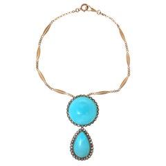 Handcraft Turquoise 14 Karat Yellow Gold Diamonds Pendant Necklace