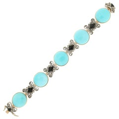 Handcraft Turquoise 14 Karat Yellow Gold Onyx Diamonds Cuff Bracelet