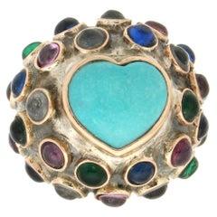 Handcraft Turquoise 14 Karat Yellow Gold Semiprecious Stones Cocktail Ring