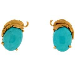 Handcraft Turquoise 14 Karat Yellow Gold Stud Earrings