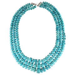 Handcraft Turquoise 18 Karat White Gold Clasp Multi-Strands Necklace