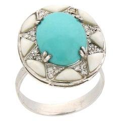 Handcraft Turquoise 18 Karat White Gold Diamonds Agate Cocktail Ring