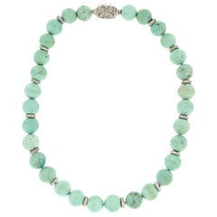 Handcraft Turquoise 18 Karat White Gold Diamonds Beaded Necklace