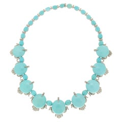 Handcraft Turquoise 18 Karat White Gold Diamonds Choker Necklace