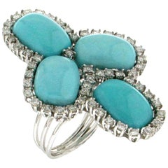 Handcraft Turquoise 18 Karat White Gold Diamonds Cocktail Ring