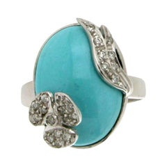 Handcraft Turquoise 18 Karat White Gold Diamonds Cocktail Ring