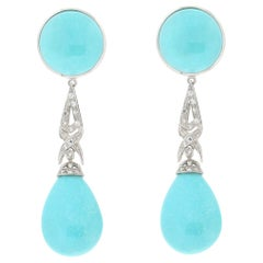 Handcraft Turquoise 18 Karat White Gold Diamonds Drop Earrings