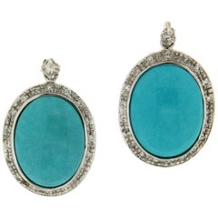 Handcraft Turquoise 18 Karat White Gold Diamonds Drop Earrings