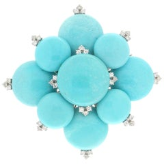 Handcraft Turquoise 18 Karat White Gold Diamonds Pendant Necklace and Brooch