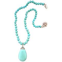 Handcraft Turquoise 18 Karat White Gold Diamonds Pendant Necklace