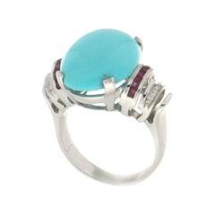 Handcraft Turquoise 18 Karat White Gold Diamonds Ruby Cocktail Ring