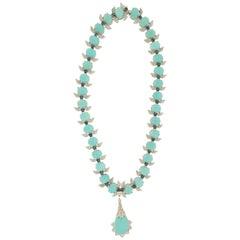 Handcraft Turquoise 18 Karat White Gold Diamonds Sapphires Choker Necklace