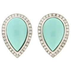Handcraft Turquoise 18 Karat White Gold Diamonds Stud Earrings