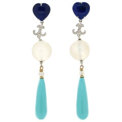 Handcraft Turquoise 18 Karat White Gold Lapis Moonstones Diamonds Drop Earrings