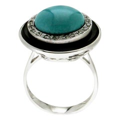 Handcraft Turquoise 18 Karat White Gold Onyx Diamonds Cocktail Ring