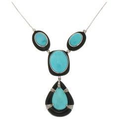 Handcraft Turquoise 18 Karat White Gold Onyx Diamonds Pendant Necklace
