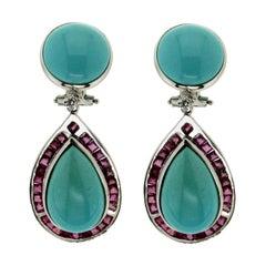 Handcraft Turquoise 18 Karat White Gold Ruby Diamonds Drop Earrings
