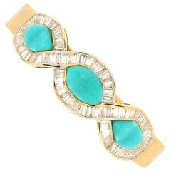 Handcraft Turquoise 18 Karat Yellow Gold Baguette Diamonds Bangle Bracelet