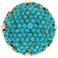 Handcraft Turquoise 18 Karat Yellow Gold Cocktail Ring