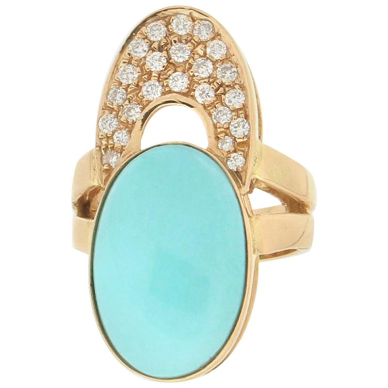 Handcraft Turquoise 18 Karat Yellow Gold Diamonds Cocktail Ring
