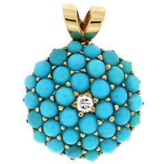 Handcraft Turquoise 18 Karat Yellow Gold Diamonds Pendant Necklace
