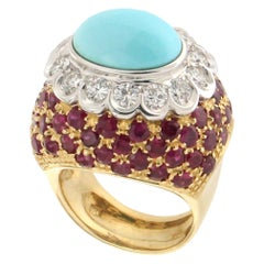 Handcraft Turquoise 18 Karat Yellow Gold Diamonds Ruby Cocktail Ring