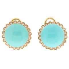 Handcraft Turquoise 18 Karat Yellow Gold Diamonds Stud Earrings