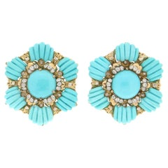 Handcraft Turquoise 18 Karat Yellow Gold Diamonds Stud Earrings