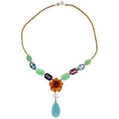 Handcraft Turquoise 18 Karat Yellow Gold Pendant Necklace