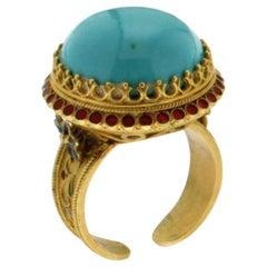 Handcraft Turquoise 18 Karat Yellow Gold Red Enamel Cocktail Ring