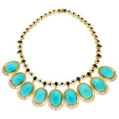 Handcraft Turquoise 18 Karat Yellow Gold Sapphires Diamonds Necklace Parure