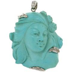 Handcraft Turquoise Face 18 Karat White Gold Diamonds Pendant Necklace