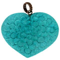 Handcraft Turquoise Heart 14 Karat Yellow Gold Pendant Necklace