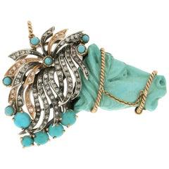 Handcraft Turquoise Horse 14 Karat Yellow Gold Diamonds Pendant Necklace