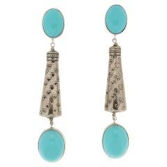 Handcraft Turquoise Paste 800 Karat Silver Drop Earrings