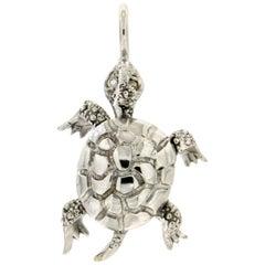 Handcraft Turtle 18 Karat White Gold Diamonds Pendant Necklace