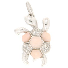 Handcraft Turtle Coral 18 Karat White Gold Diamonds Pendant Necklace