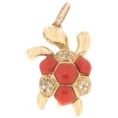 Handcraft Turtle Coral 18 Karat Yellow Gold Diamonds Pendant Necklace