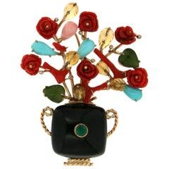 Handcraft Vase 14 Karat Yellow Gold Coral Diamonds Onyx Brooch
