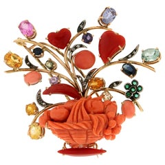 Handcraft Vase 14 Karat Yellow Gold Coral Sapphires Diamonds Emeralds Brooch