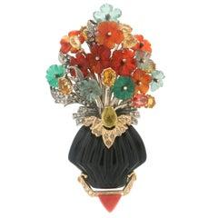 Handcraft Vase 14 Karat Yellow Gold Onyx Citrine Carnelian Agate Diamonds Brooch