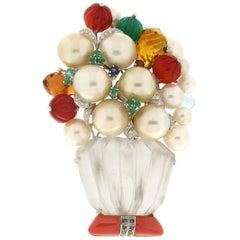 Handcraft Vase 18 Karat White Gold Coral Crystal Rock Pearls Diamonds Brooch