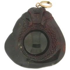 Handcraft Vintage Amber 14 Karat Gold Pendant Necklace