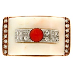 Handcraft White Coral 9 Karat White and Yellow Gold Diamonds Coral Cocktail Ring