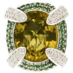 Handcraft White Gold 18 Karat Diamonds Emerlads Yellow Citrine Cocktail Ring